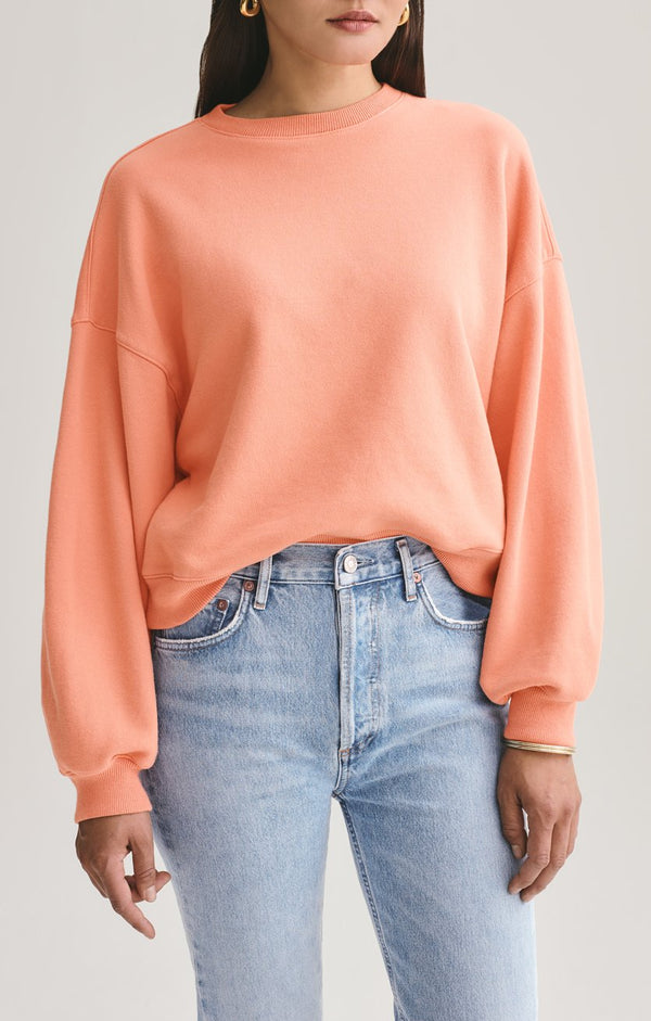 balloon sleeve sweatshirt creamsicle front