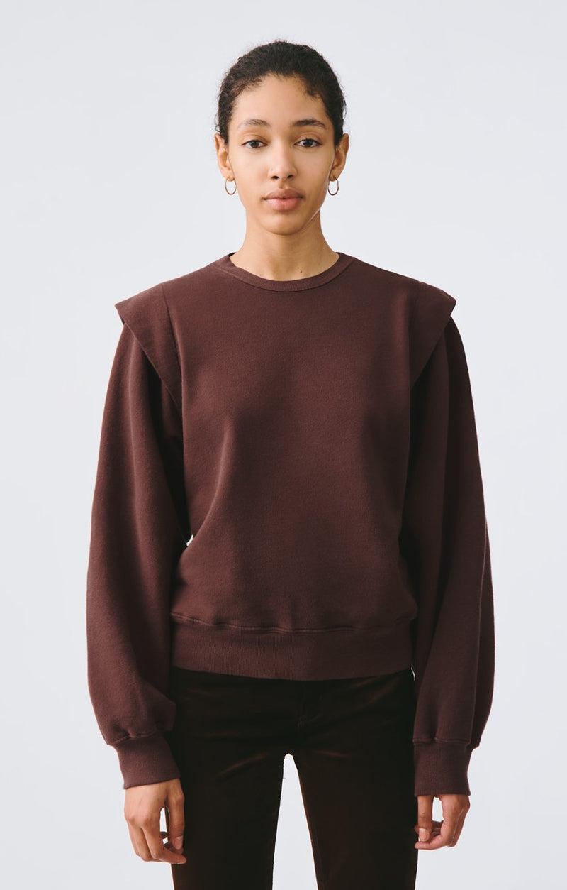 80s pleated shoulder sweatshirt pumpernickel front