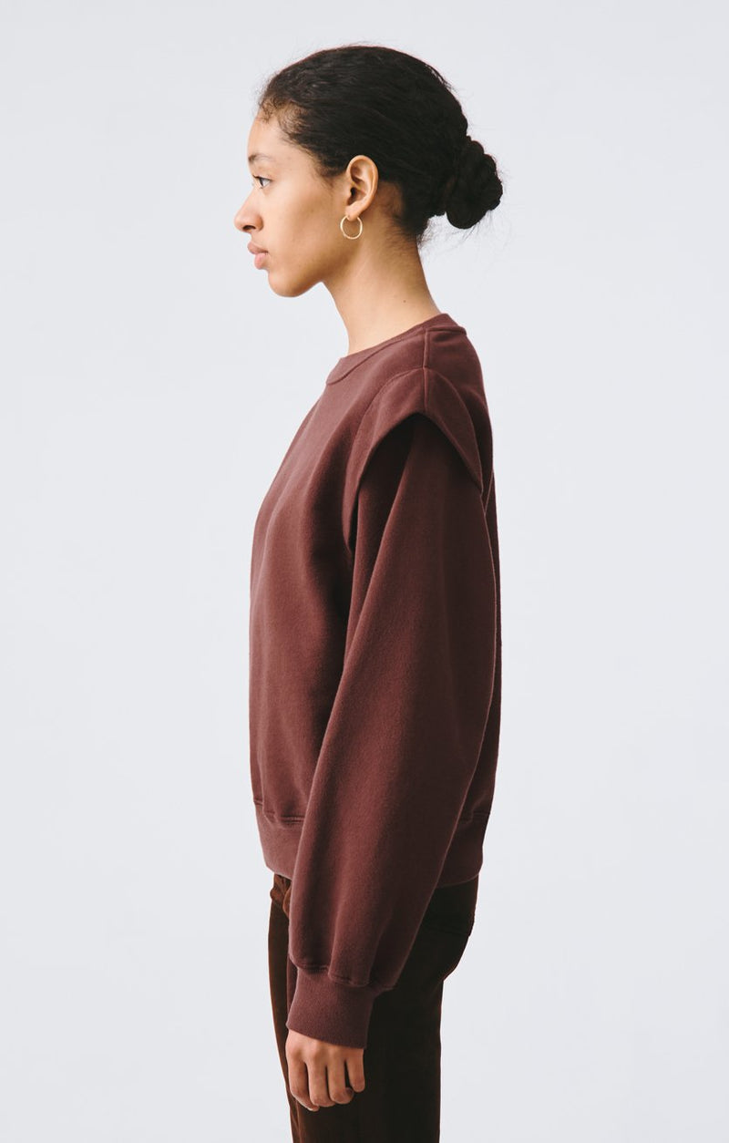 80s pleated shoulder sweatshirt pumpernickel back