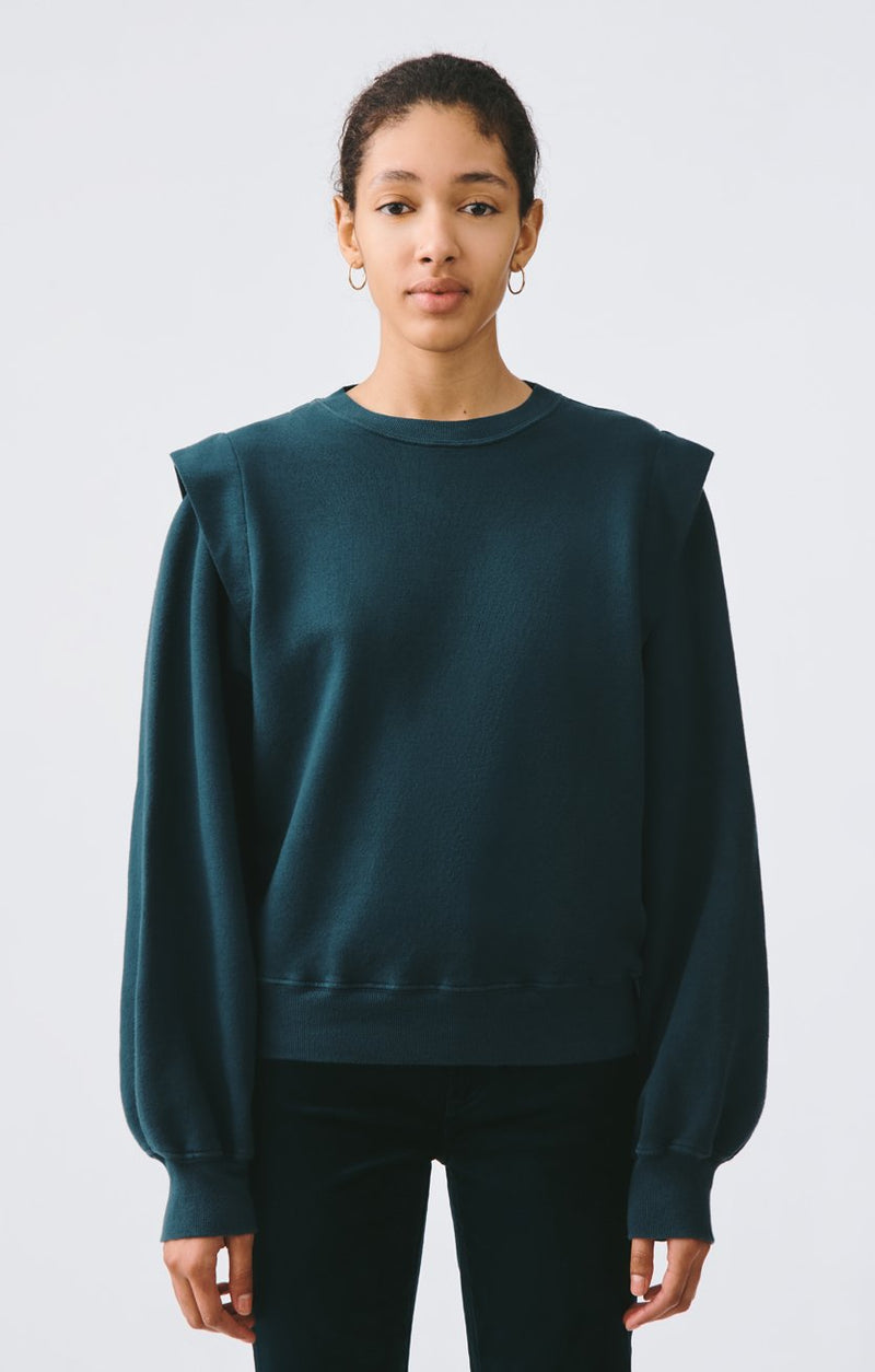 80s pleated shoulder sweatshirt seawater front