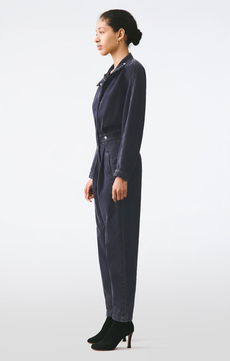 ina high collar zip jumpsuit outcast back