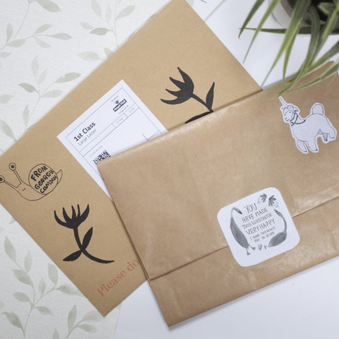 Kraft paper packaging for Georgia Camdens Art Prints