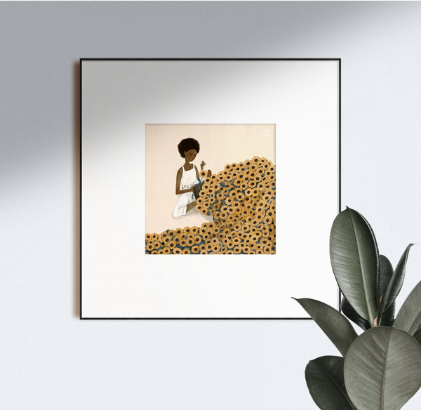 Sewing Sunflowers Art Print