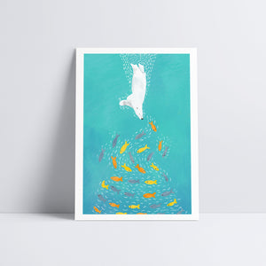 Polar Bear Diving Art Print