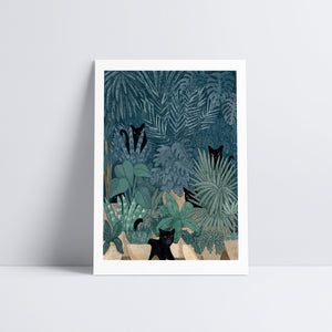 Black Cats in a Potted Jungle Art Print
