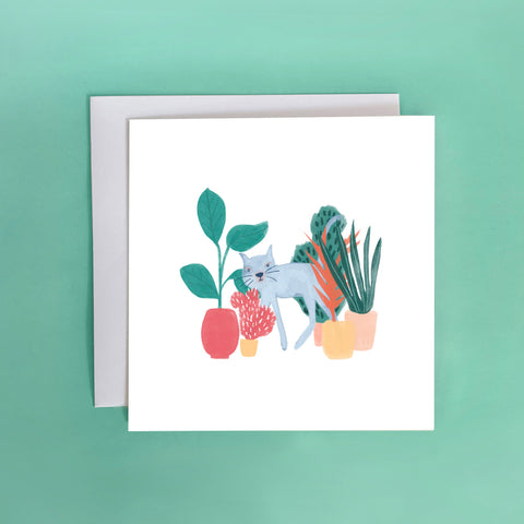 Cats and Plants Greeting Card