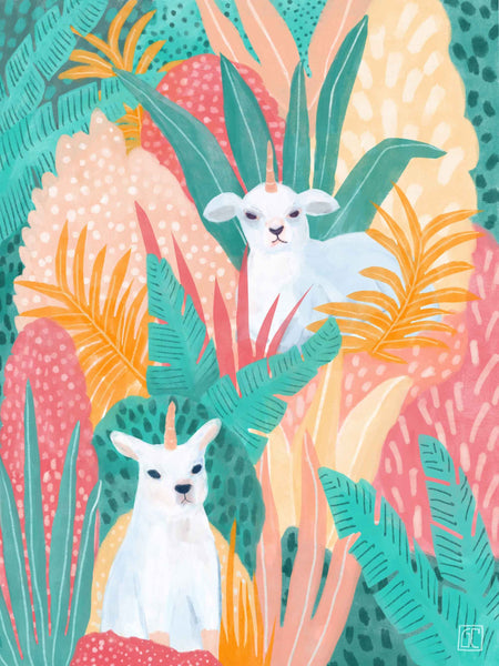 SALE: Magical Lambicorns in a Colourful Forest Art Print