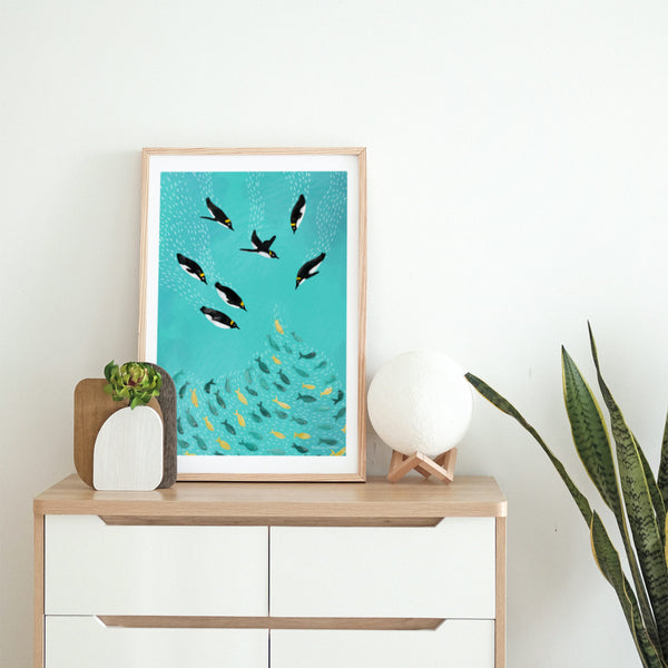 Penguins Playing Art Print