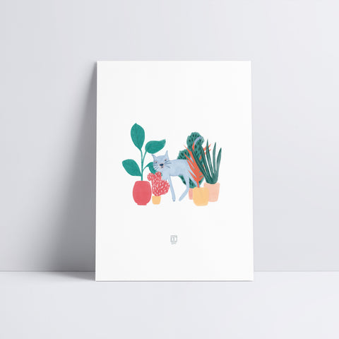 Cats and Plants Art Print