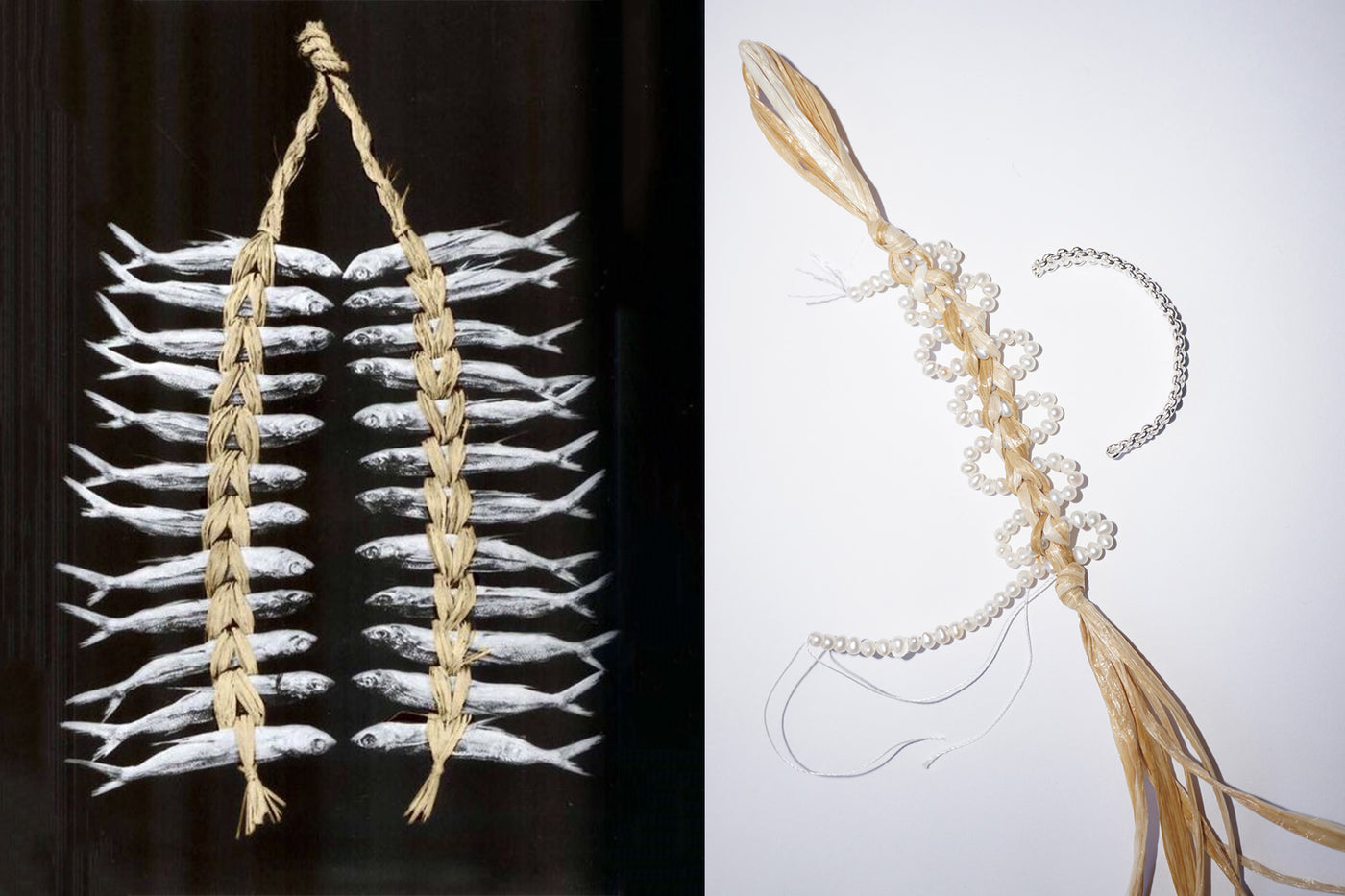 Left: Dry fish raffia packaging / Right: Raffia and pearls bracelet in making