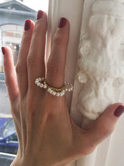 Pearls petals flower ring
