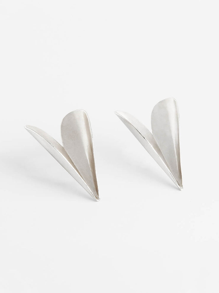 Folded Hearts Statement Earrings