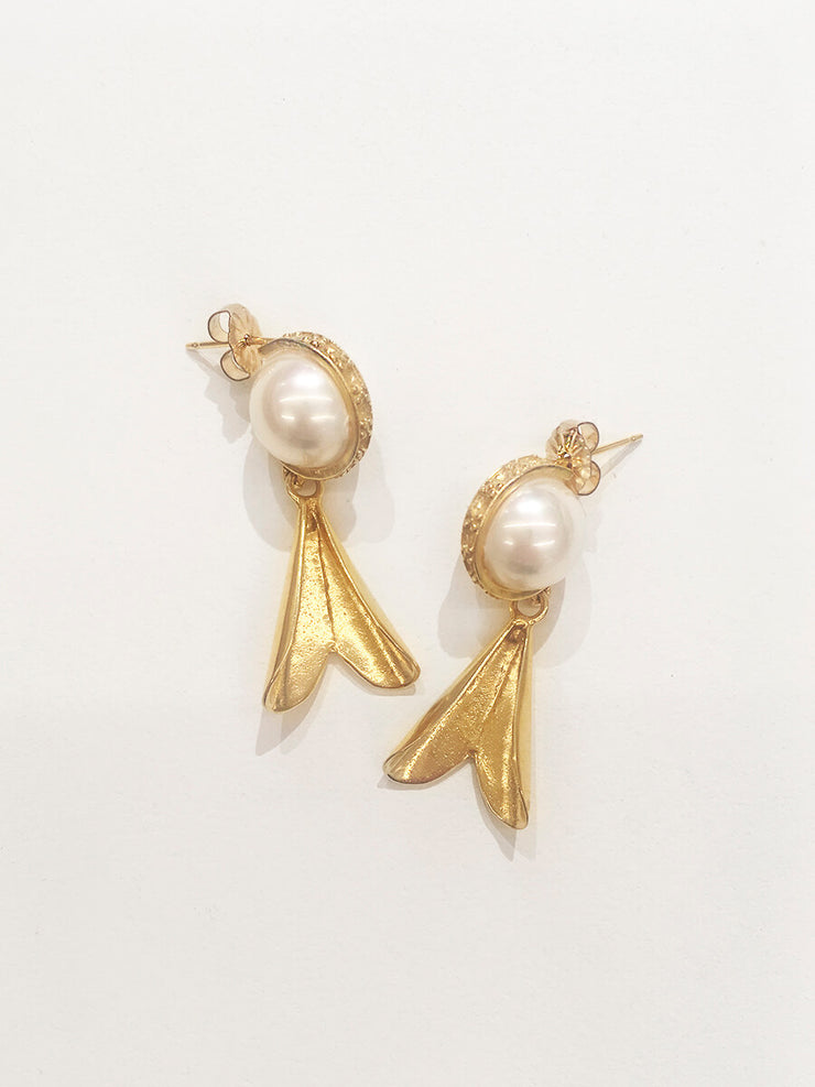 Wrapped Pearls & Swinging Hearts Earrings