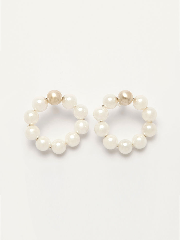 White Pearls Hoops