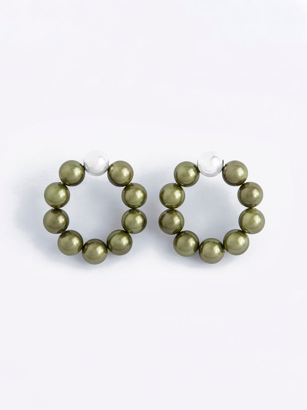 Olive Green Pearls Hoops