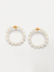 White Pearls Statement Hoops