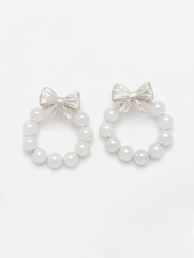 Bows and Pearls Hoops