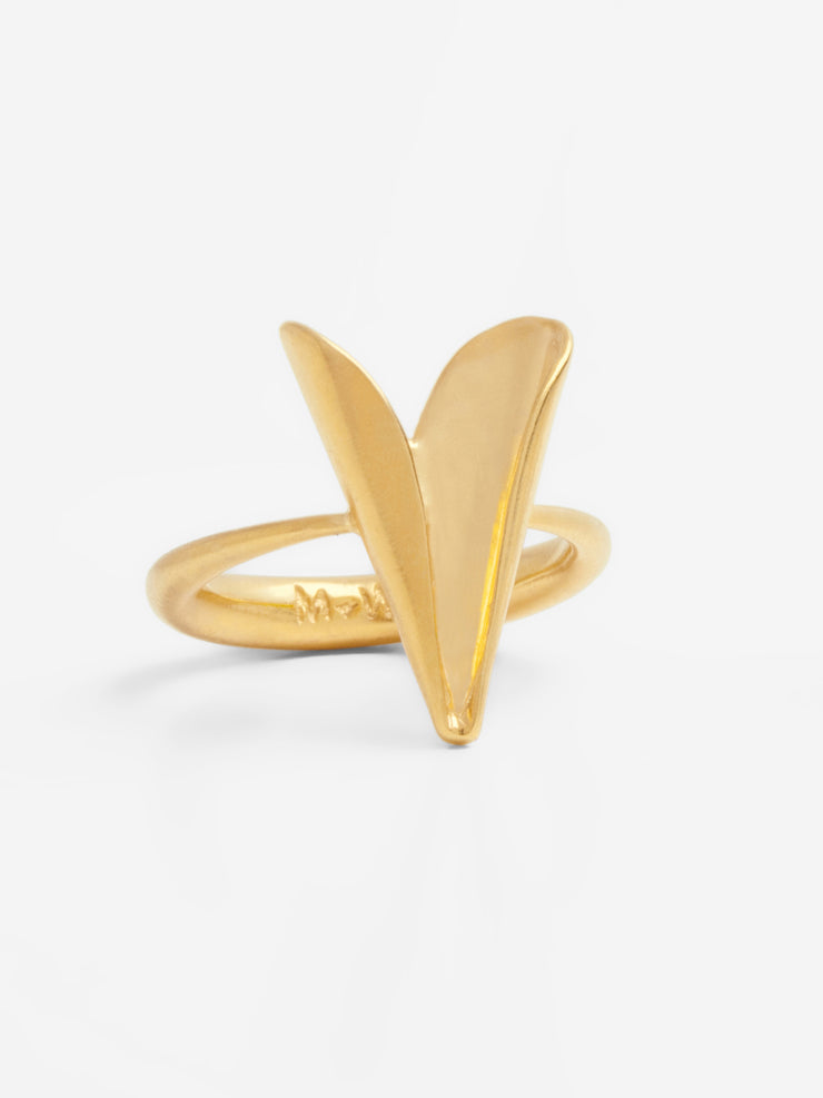 Petite Folded Heart Ring