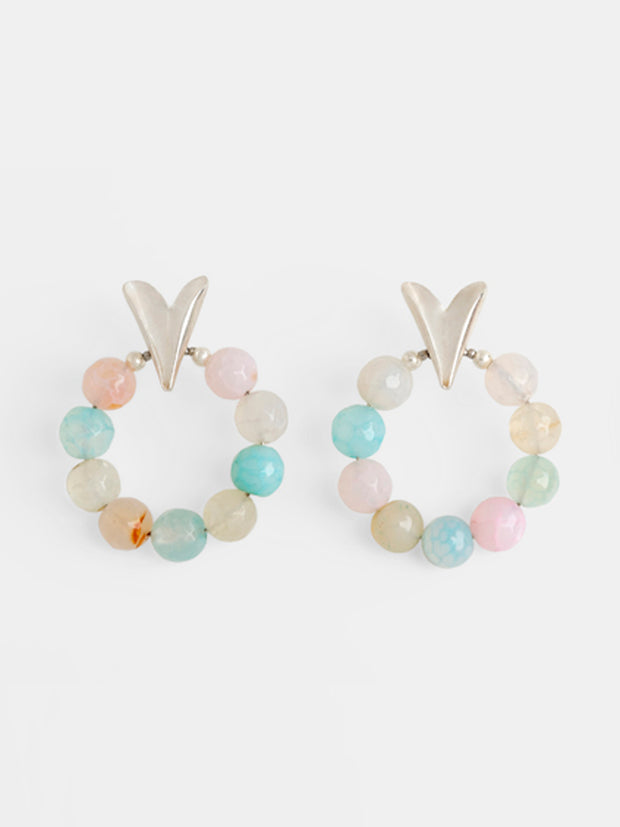 Folded Hearts Agate Hoops in Candy & Silver