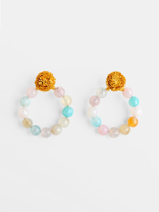 Sparkling Stars Candy Beaded Hoops Earrings