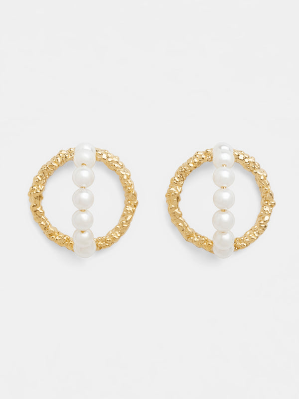 PETITE HOOPS & PEARLS EARRINGS