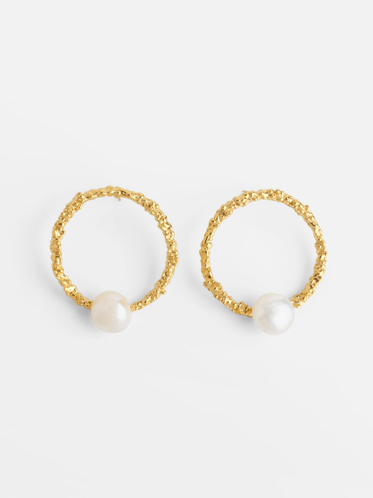 Statement Textured Hoops with Pearls