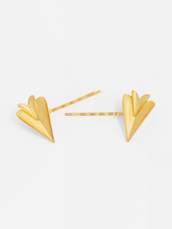TWO FOLDED HEARTS HAIRPIN