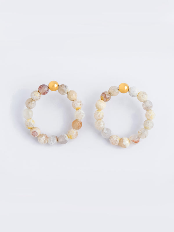 AGATE GOLDEN IVORY STATEMENT HOOPS