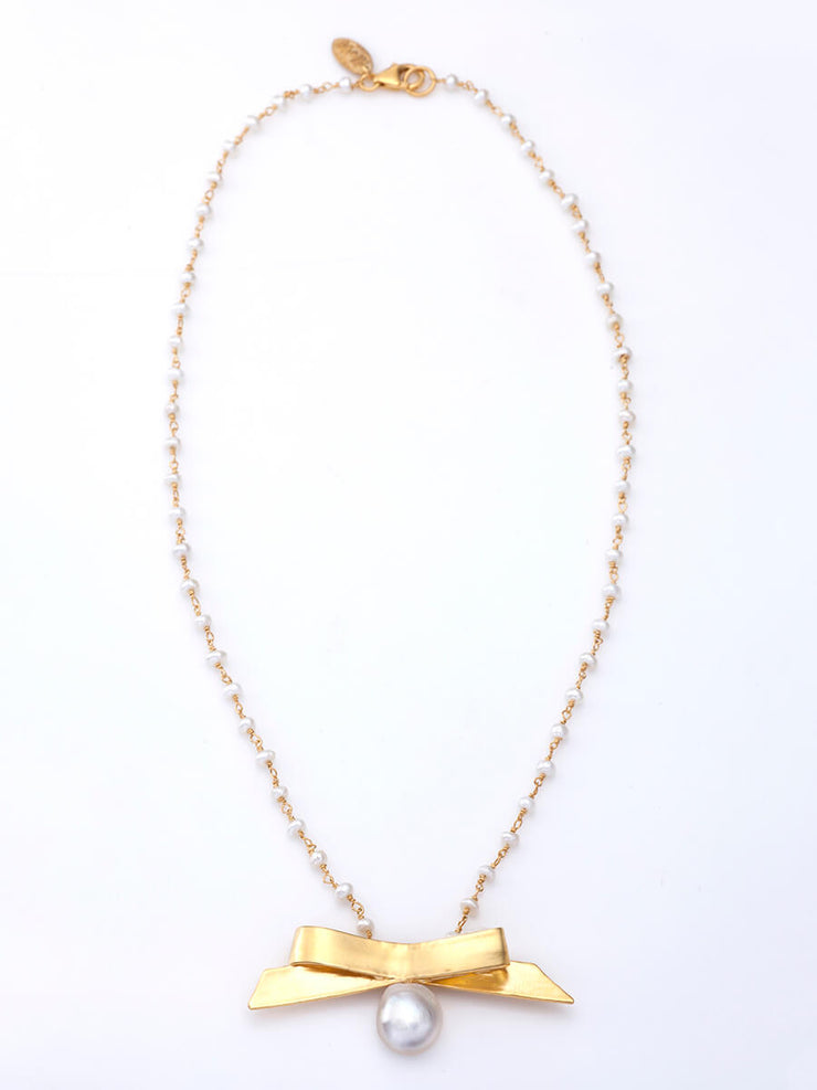 "Bow & Pearl Neckpiece with ""Raindrops"" Pearls Chain"