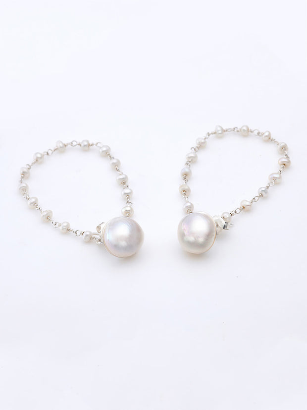 "Pearl & ""Raindrops"" Pearls Chain Ear Cuff"
