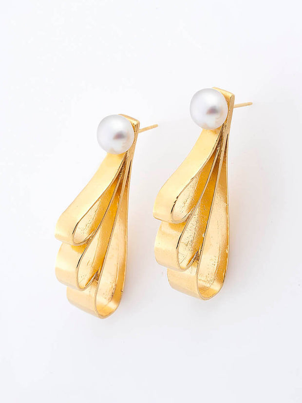 Drop Shapes & Pearls Earrings