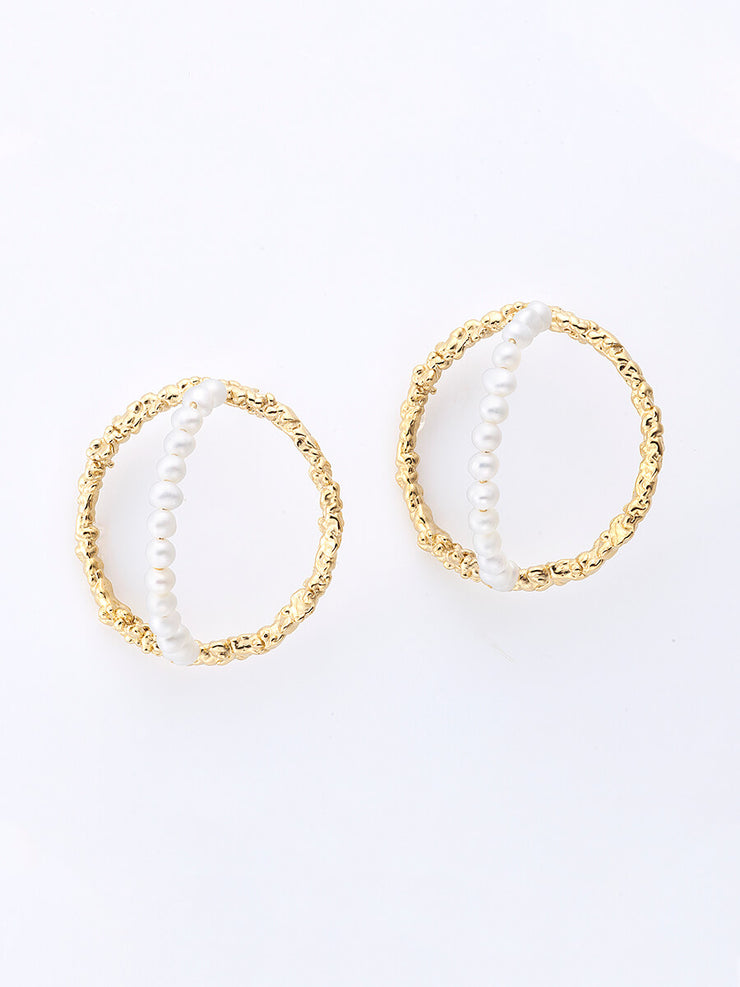 Statement Hoops & Pearls Earrings