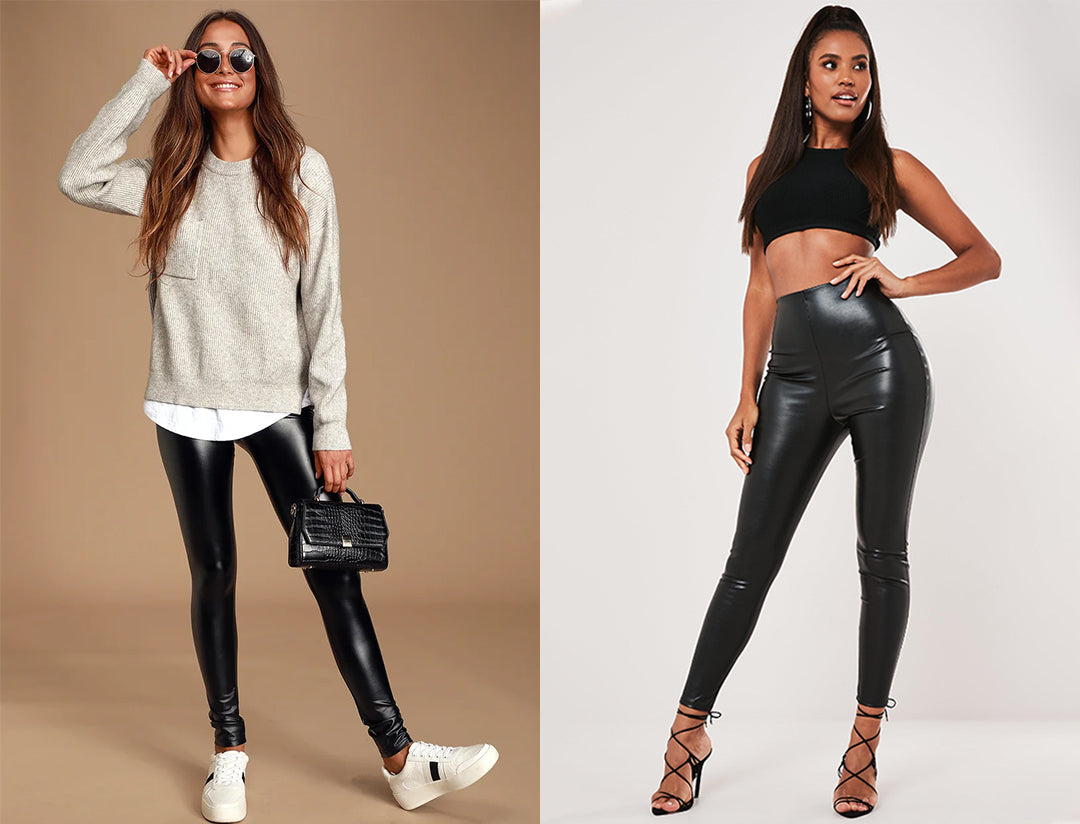Faux Leather Leggings matched with different outfits
