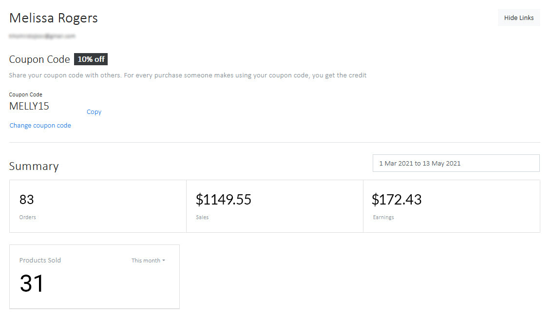 Image of an account dashboard showing sales and money earned