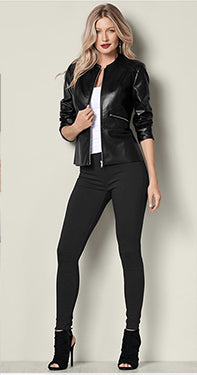 Black Jeans with leather jacket
