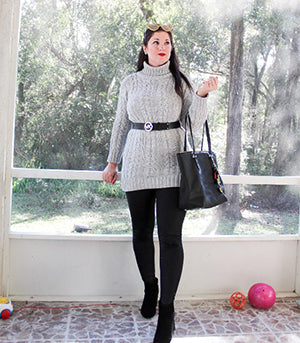 Classy and Sophisticated - Black Leggings with Sweater Dress