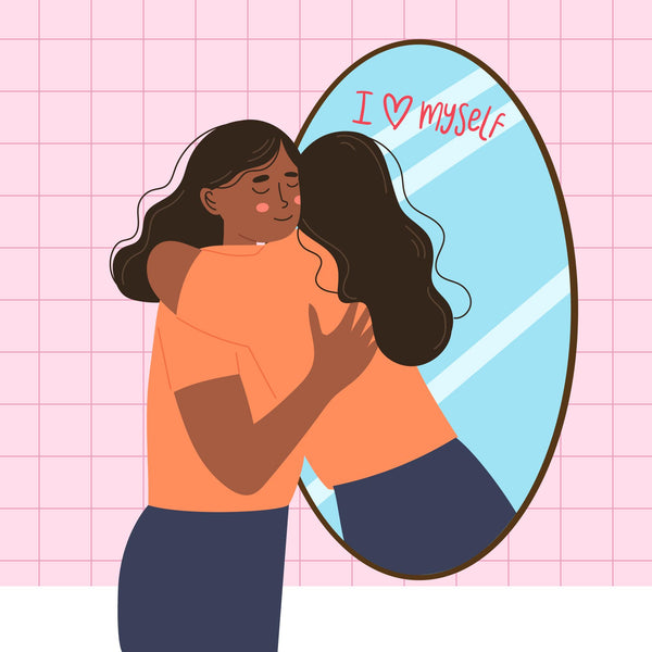 Illustration of a girl who shows self-love