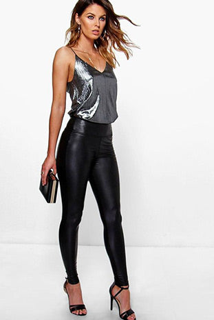Faux Leather Leggings with High Heels & Silver Cami