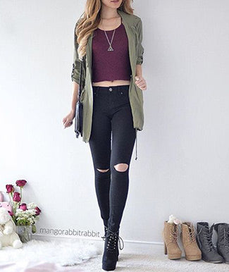 Jeggings paired with Parka Jacket
