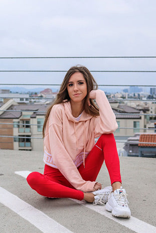 Red Leggings combined with a Cropped Hoodie