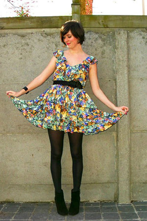 Sweet and Trendy Tights + Flowery Dress