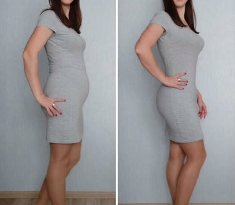 Before and after wearing the Body Shaper