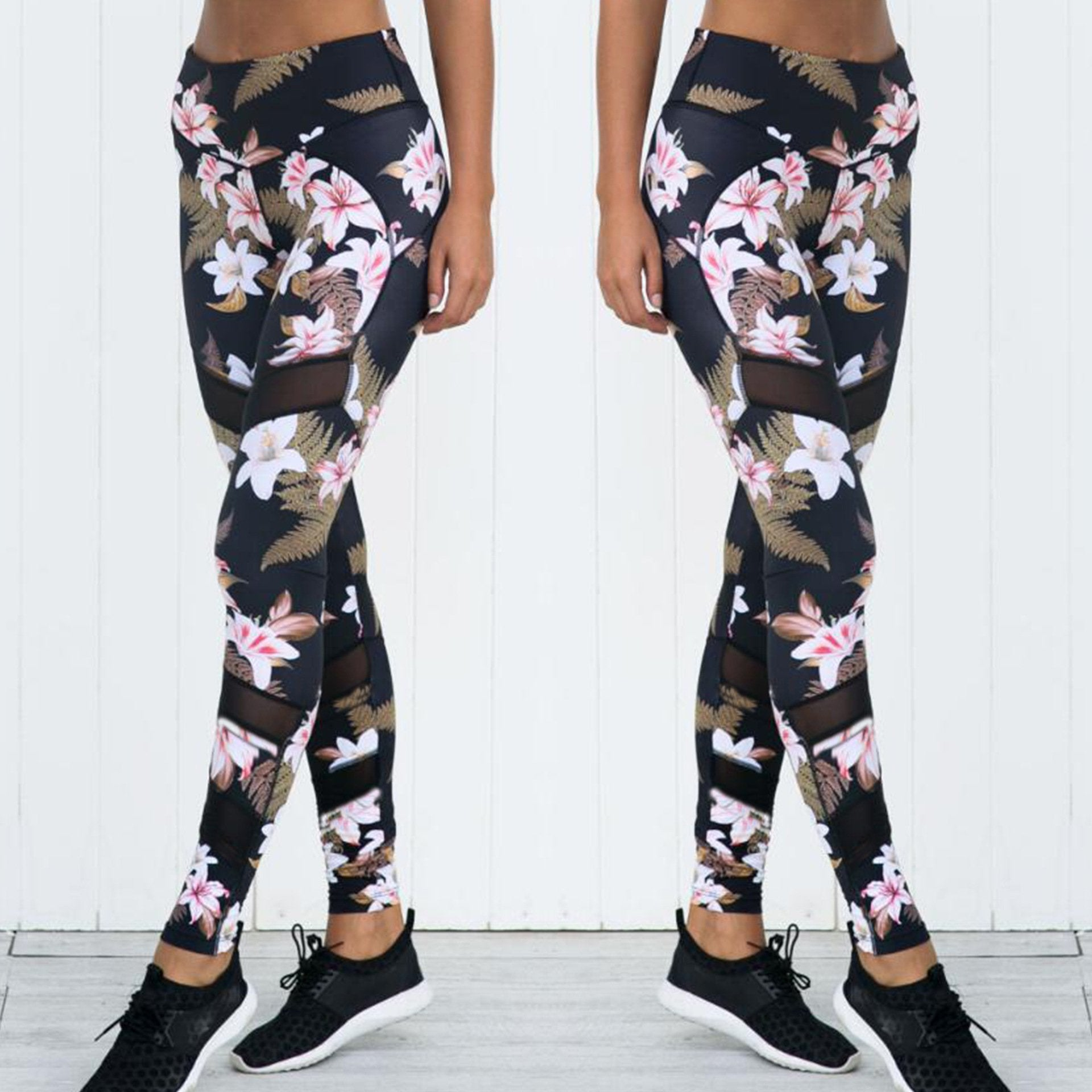 Flower Mesh Leggings - High Waisted - Viki Body