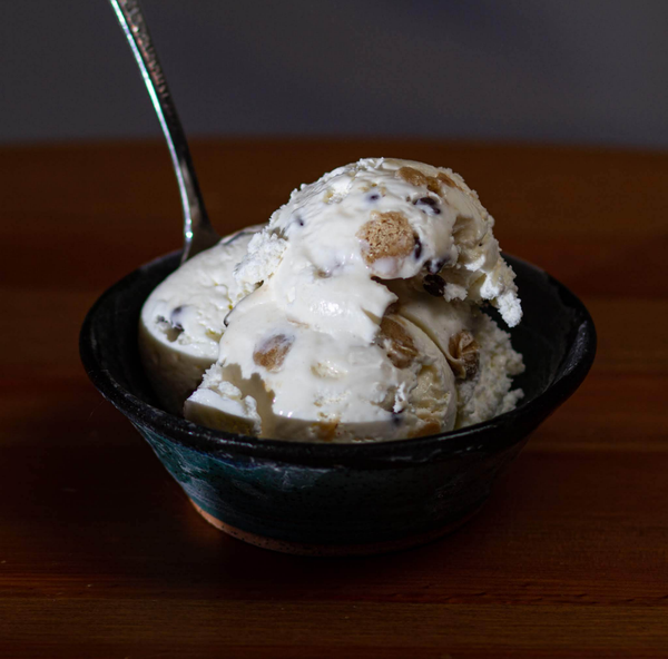 a bowl of chocolate chip cookie dough ice cream