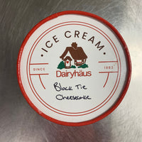 a quart of dairyhaus blacktie cheesecake icecream