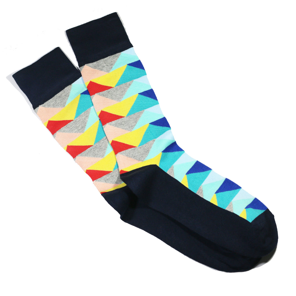 MULTICOLOR GEOMETRIC PATTERN SOCKS