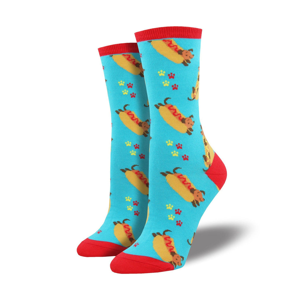WIENER DOG IN A BUN SOCKS