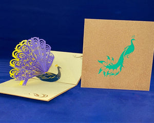 Tian's Gifts: Purple Peacock 'Pop Up' Greetings Card