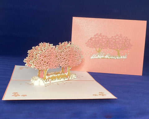 Tian's Gifts: Cherry Blossom Road 'Pop Up' Greetings Card