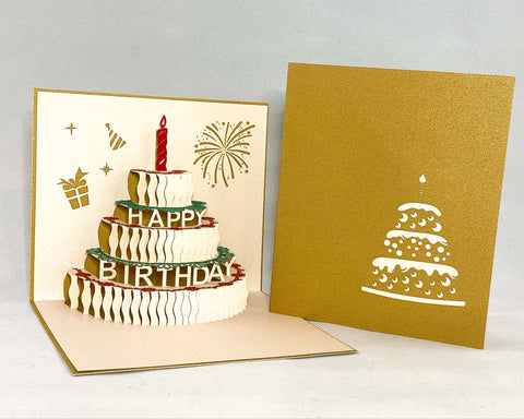 Tian's Gifts: Gold Cake Pop Up Birthday Card